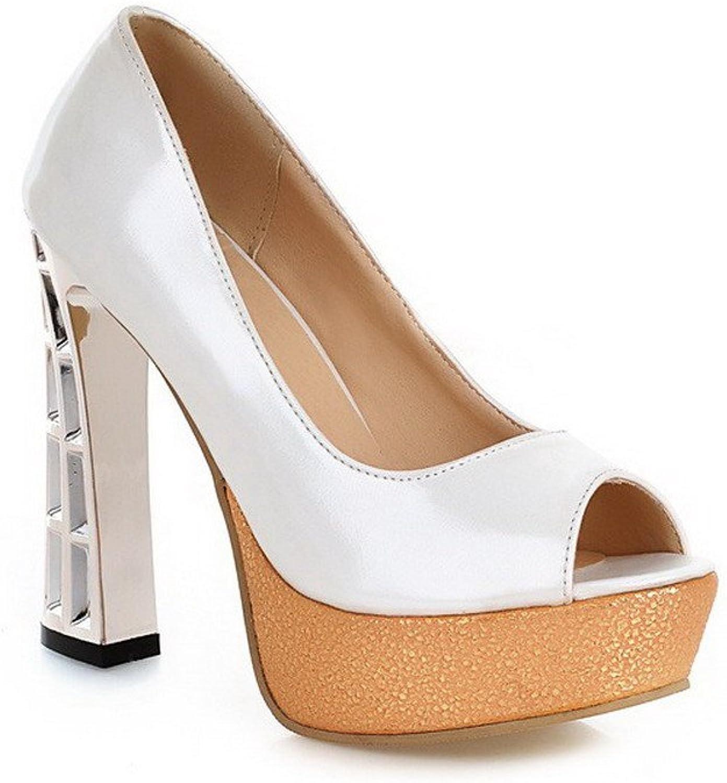 AllhqFashion Women's Peep Toe Pull On Pu Assorted color High Heels Sandals