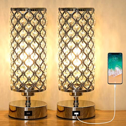 Ganiude Crystal 3 Way Dimmable Touch Table Lamp with USB Charging Port Set of 2 Modern Nightstand product image