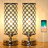 Ganiude Crystal 3-Way Dimmable Touch Table Lamp with USB Charging Port Set of 2, Modern Nightstand Desk Lamp, Elegant Decorative Bedside Lamp for Living Room, Bedroom, Dining Room, LED Bulb Included