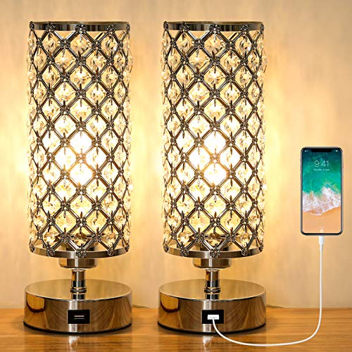 Ganiude Crystal 3-Way Dimmable Touch Table Lamp with USB Charging