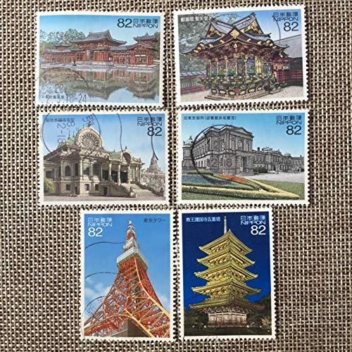 6 Pz / set Francobolli postali giapponesi Incisione di edifici famosi in Giappone Francobolli contrassegnati postali usati per collezionare