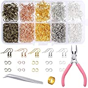 PP OPOUNT 1128 Pieces Earring Making Supplies Kit with Earring Hooks, Jump Rings, Pliers, Tweezers, Jump Ring Opener for Earrings Making and Repairring (Assorted Colors)