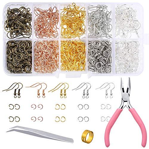 PP OPOUNT Kit de suministros para fabricación de pendientes, 1128 piezas, con ganchos para pendientes, anillos, alicates y pinzas, abridor de anillos para hacer pendientes y reparación de pendientes