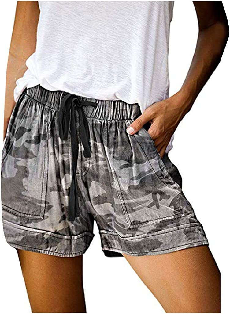 COMVALUE Womens Shorts for Summer,Women Comfy Drawstring Elastic Waist Shorts Summer Beach Casual Loose Shorts