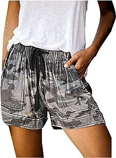 Women Casual Pants, JOYFEEL Ladies Plus Size Loose Elastic Waist Yoga Shorts Workout Wide Leg Athletic Shorts (Gray, M)