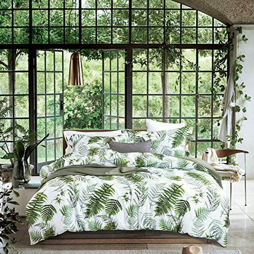 MILDLY Tropical Bedding Set - 100% Egyptian Cotton Green Palm Leaf Print Luxury Duvet Cover Set- Reversible Percale Comforter Cover Set King Size (No Comforter)