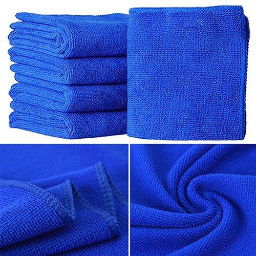 Caxmtu Lot de 10 chiffons de nettoyage doux et absorbants en microfibre pour voiture - Bleu