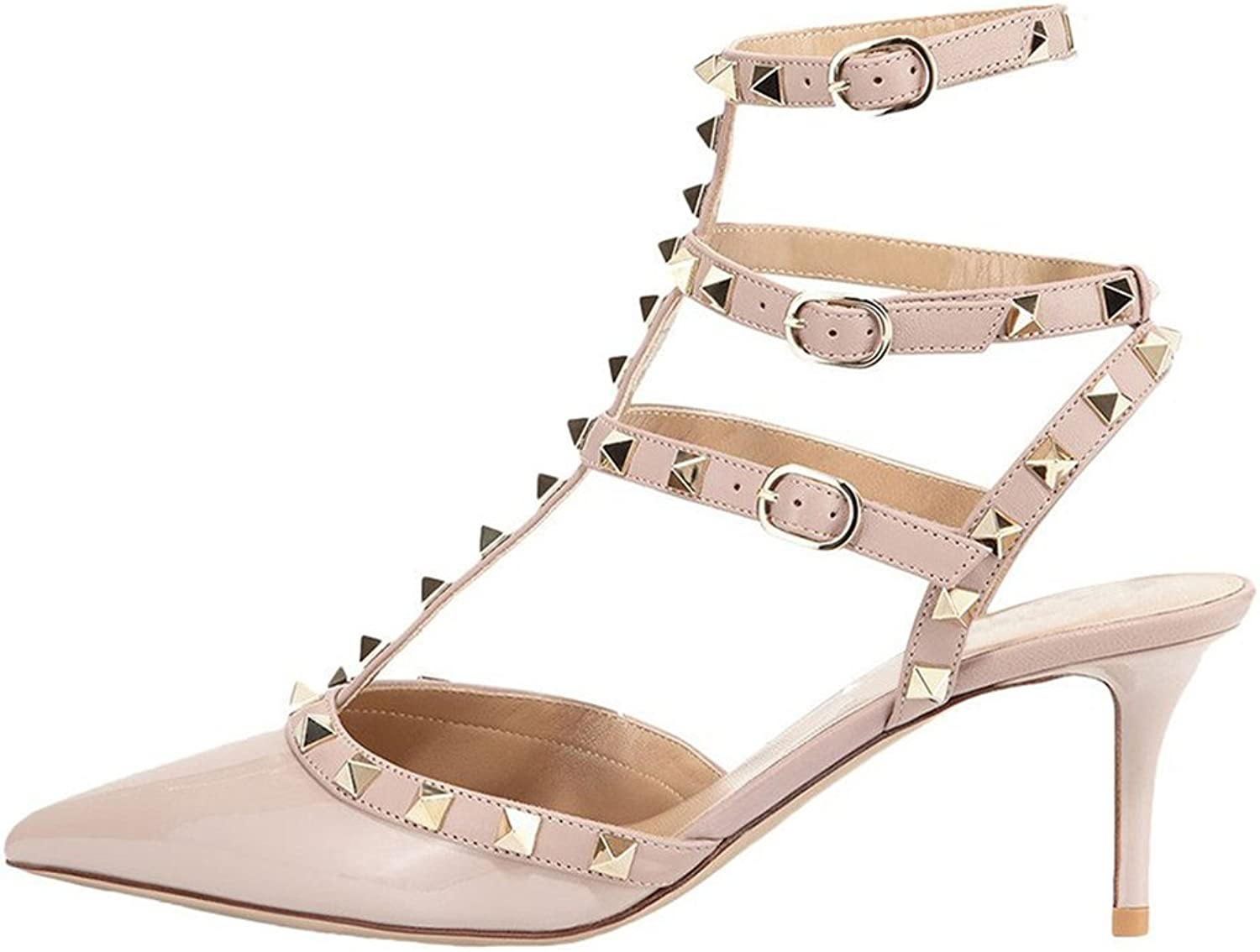 MERUMOTE Women's Strappy Heeled Sandals Double Buckle Thin Rivets Dress Sandals