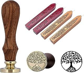 Ensemble de Tampons en Cire à Cacheter, 1 Seau de Timbre Personnalisé Avec 4 Bâtons de Cire à Cacheter de Manuscrit de Feu...