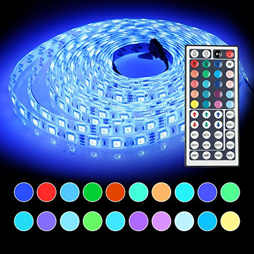 LED Strip Lights, 16.4ft(5m) 300 LEDs Waterproof Led Rope Lights with 44-Keys Remote Controller, SMD 5050 Mood Lights for Indoor and Outdoor Decoration Gift