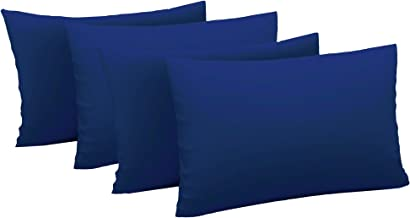 Just Linen Value Pack of 4 Pillow Cases 200 TC 100% Cotton Percale Solid, Large Size