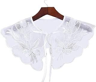 Chinashow Women's Detachable Fake Collar - Tulips Embroidery Decorative False Collar Decorative Half Shirt Shawl Dickey Blouse White