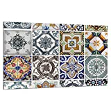 TMK - Piastra di copertura per piano cottura a induzione, 80 x 52 cm, 1 pezzo, universale per piastre di cottura protezione antischizzo, tagliere in vetro temprato, decorazione Mosaico