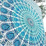 Raajsee Indisch Psychedelic Mandala Weiß blau Wandteppich / Indien Elefant Boho Wandtuch Hippie Wandbehang 82x92 Inches