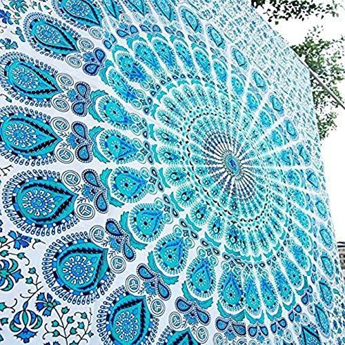 Raajsee Indisch Psychedelic Mandala Weiß blau Wandteppich / Indien Elefant Boho Wandtuch Hippie Wandbehang 82x92...