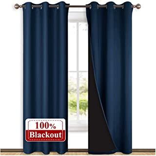 NICETOWN Complete 100% Blackout Curtain Set, Thermal Insulated & Energy Efficiency Window Draperies for Guest Room, Full Shading Panels for Shift Worker and Light Sleepers, Navy Blue, 42W x 84L, 2 Pcs