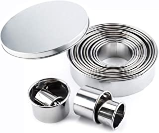 GTANG-Stainless Steel Biscuit Making Tool, Model Kit, Cannoli Tubes,Round Biscuit Baking Tool for Making Doughnuts, Cookies, Puddings, Tiramisu, Mousse, Cakes, Etc. (Including 14 Kits)