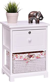 Giantex 2 Tier Wooden Nightstand W/ 1 Drawer and 1 Basket Bedside Sofa Table Organizer for Bedroom Home Furniture White End Table (1)