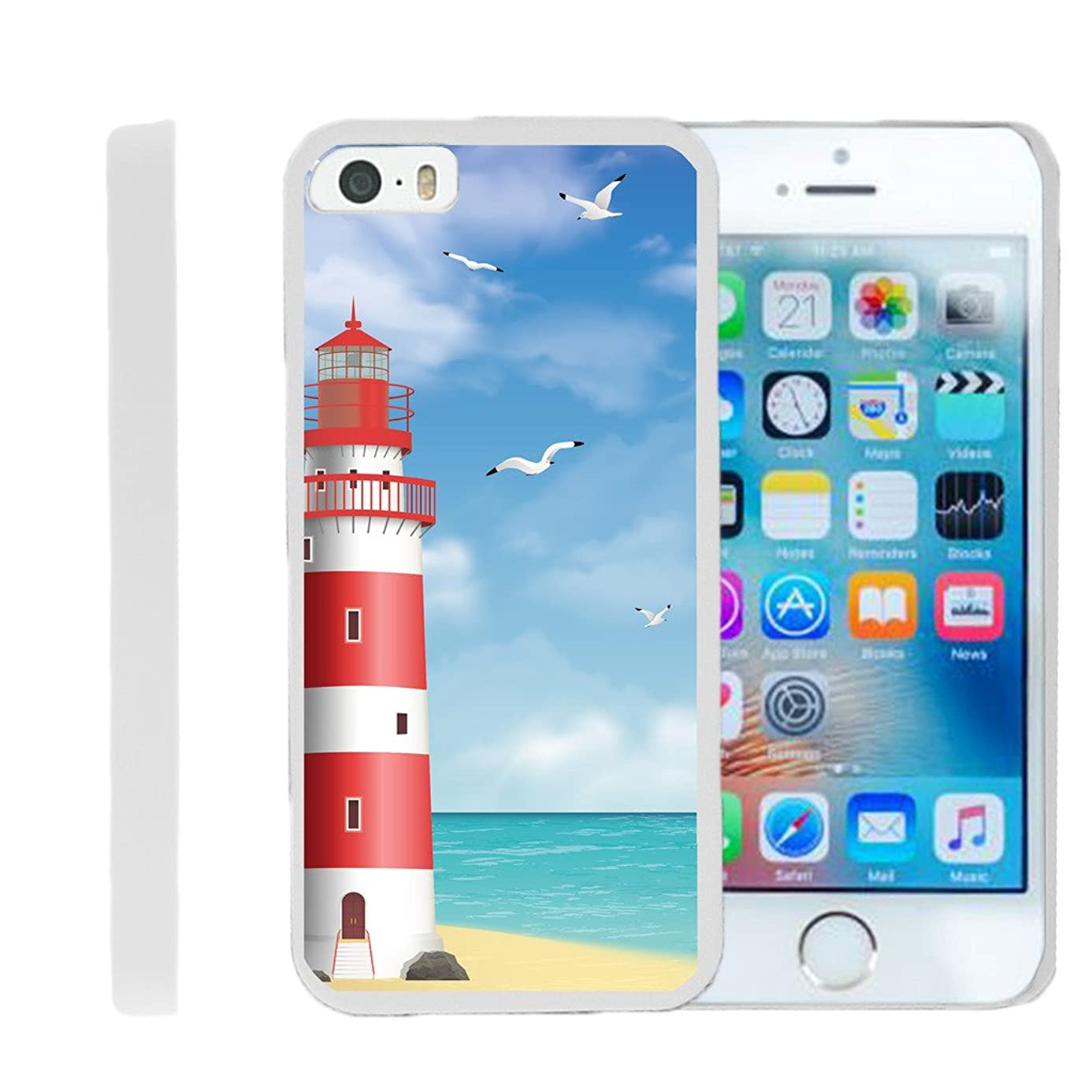 TurtleArmor | Compatible for Apple iPhone SE Case | iPhone 5/5s Case [Slim Duo] Fitted Ultra Compact Slim Hard Cover Clip On Shell Protector on White Ocean Beach Design - Lighthouse Pier thm0692424