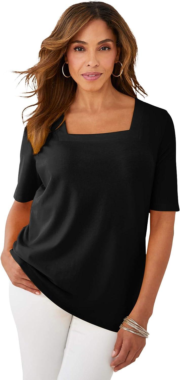 Jessica London Women's Plus Size Square Neck Tee Short Sleeve T-Shirt
