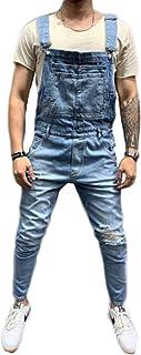 Uomo Denim Salopette Casual Stretch Tuta Strappato Foro Jeans Slim Fit Pagliaccetti