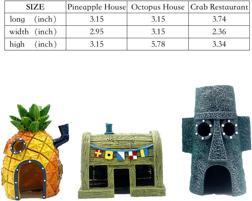 Pineapple House nut House Decorations Caves to Hide or Swim Krusty Krab,Spongebob House Crab Restaurant and Tree Root AnxunJim Aquarium Fish Tank Decoration