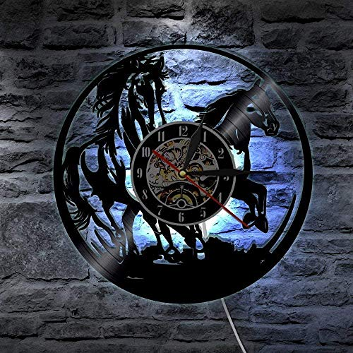 OLB&VNM Reloj de Pared de Disco de Vinilo Wild and Free Running Horse Wall Art Semental Silhouette Horse Gift para Jockey Horse Lovers-with_Led
