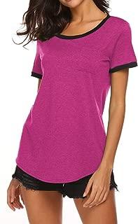 Qearal Women's Sexy Off Shoulder Tops Short Sleeve T Shirt High Low Hem Tunic Tops Casual Blouse