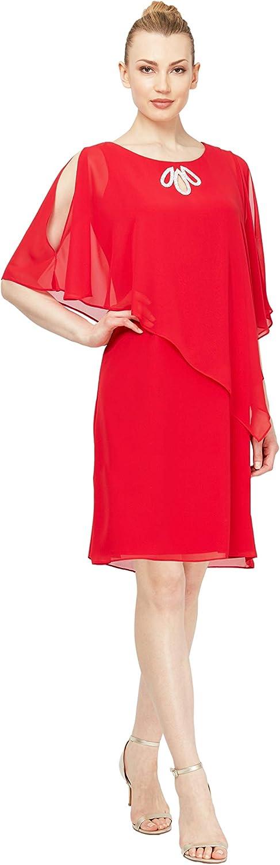 S.L. Fashions Women's Plus Size Rhinestone Beaded Sleeveless Dress with Capelet