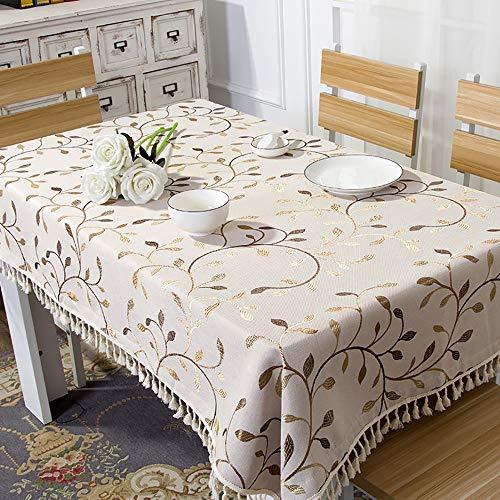 Lunana tafelkleed, rechthoekig, vuilafstotend, strijkvrij, katoen, onderhoudsvriendelijk, duurzaam, voor eettafel, picknick, party, tuin, wasbaar, 90 x 150 cm