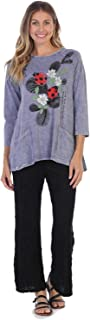 Jess & Jane Women's Hide and Seek Mineral Washed Patch Pocket Cotton Tunic