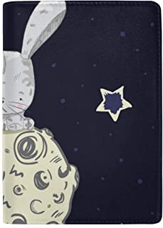 Cute White Hairy Rabbits Carrot Blocking Print Passport Holder Cover Case Travel Luggage Passport Wallet Card Holder Made with Leather for Men Women Kids Family