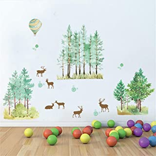 Sika Deer in The Woods Wall Stickers Home Decor Wall Border Decal Forest Deer Hot-Air Balloon Wallpaper Poster Art Wall Ap...