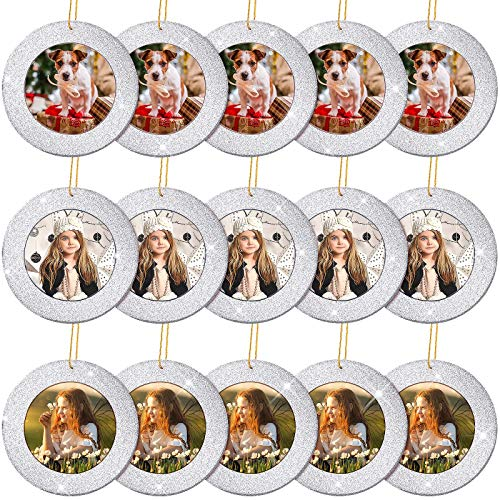 Jetec 15 Pieces Mini Magnetic Glitter Christmas Photo Frame Ornaments with 13.12 Feet Gold Thread for Holiday Christmas Picture Frame Tree Decoration (Silver)
