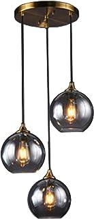 MZStech Rétro suspension industrielle à 3 voies, luminaire suspendu de lustre en verre de globe (Gris miroir, Rond)