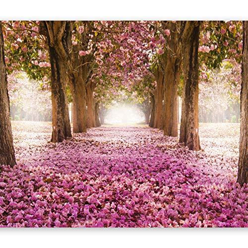 murando Fototapete Weg 350x256 cm Vlies Tapeten Wandtapete XXL Moderne Wanddeko Design Wand Dekoration Wohnzimmer Schlafzimmer Büro Flur Blumen Bäume Park Allee rosa braun c-A-0031-a-b