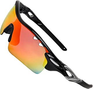 ITSCOOL Polarized Sports Sunglasses with Interchangeable Lenses for Men Women Youth Baseball Running Driving Fishing Golf Cycling Glasses