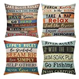 Gspirit 4 Pack Fundas Cojines 45x45 Retro Flequillo Algodón Lino Throw Pillow Case Cojines Decoracion