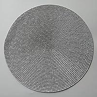 ZJN-JN ラウンドウィースプラセマットファッションPPダイニングテーブルマットディスクパッドボウルパッドコースター防水テーブルクロスパッドキッチンコーヒーバー (Color : Gray, Size : 36cm)
