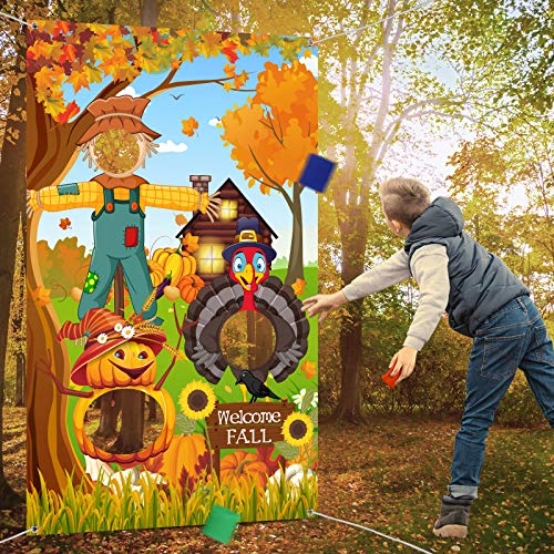 Thanksgiving Party Decorations, Thanksgiving Toss Game Turkey Pumpkins Sunflower Scarecrow Harvest Maple Leaves Background Autumn Forest Backdrop Natural Scenery Fall Landscape Photo Background