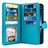 NEXTKIN Case Compatible with ZTE Zmax Pro Carry Z981, Leather Dual Wallet Folio TPU Cover, 2 Large Pockets Double Flap, Multi Card Slots Snap Button Strap for Zmax Pro Carry Z981 - New Teal