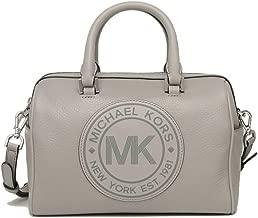 Michael Kors Fulton Sport Small Duffle Satchel Leather Crossbody Bag Purse Handbag, Pearl Grey