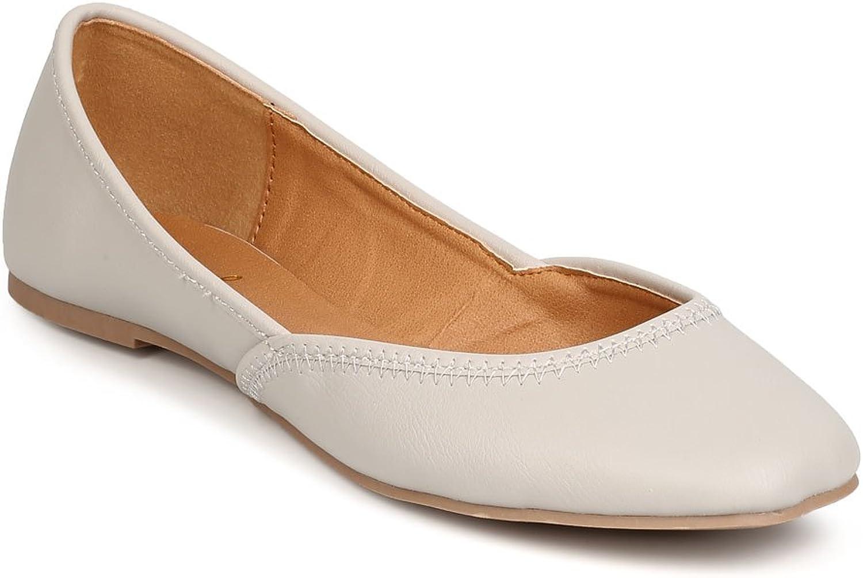 Qupid FC40 Women Leatherette Square Toe Ballerina Flat - Stone