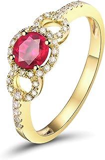 Daesar Anello Oro Giallo 18Kt, Anelli Donna Fidanzamento 0.5ct Rubino di Forma Rotonda Anelli Fidanzamento Donna Oro