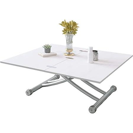 Beliwin Table Basse Réglable en Hauteur Blanche Pour Salon, Plateau de Table Pliant, Pieds en Métal à Plateau Elévateur, Table de Fête à Manger