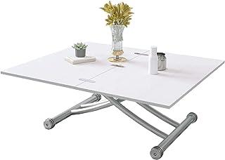 Beliwin - Mesa de centro elevable, altura ajustable, mesa de comedor, fiesta, muebles blancos para oficina en casa