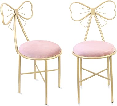 Wisfor Pack of 2 Pink Bow Vanity Chairs Makeup Bedroom Chairs Stool with Bow Knot Backrest and Velvet Cushion for Girl Daught