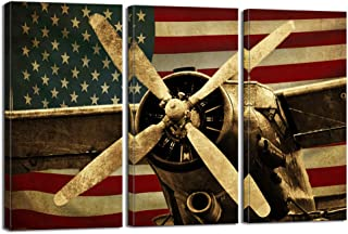 LevvArts - 3 Piece Canvas Prints Vintage American US USA Flag Fighter Bomber Head Propelle Canvas Wall Art Military Aircraft Painting Framed Ready to Hang Modern Living Room Farmhouse Man Bedroom Deco