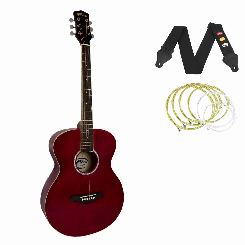 Tiger - Guitarra acústica para principiantes, color rojo: Amazon ...