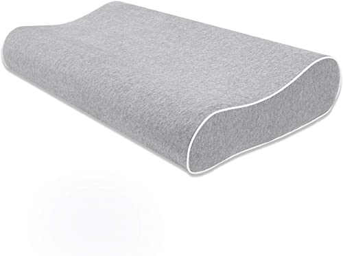 Mugetu Gel Infused Memory Foam Pillow Height Adjustable Cervical Pillow Supportive Contour Bed Pillow with Open-Cell ...